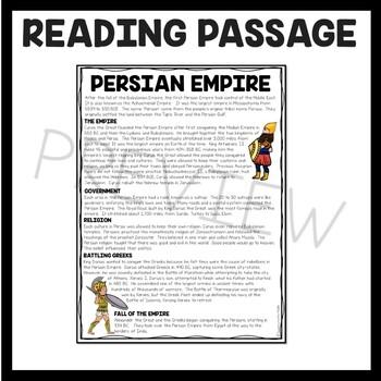 Ancient Mesopotamia Persian Empire Reading Comprehension Worksheet