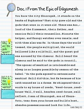 Ancient Mesopotamia Primary Source Analysis For Google Classroom and One Drive