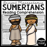 Ancient Mesopotamia Sumerians Reading Comprehension Worksheet