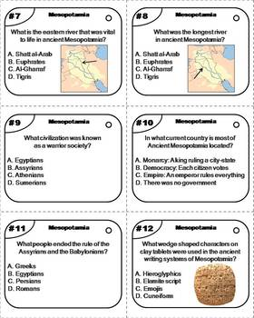 Ancient Mesopotamia and the Fertile Crescent Task Cards