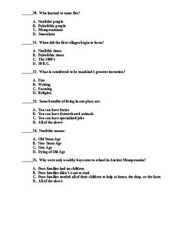 Ancient Mesopotamia Test - Includes Answer Key