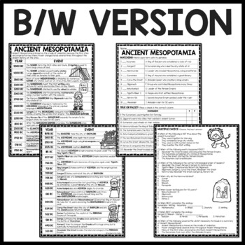 Ancient Mesopotamia Timeline Worksheet with Questions, Babylon, Sumer