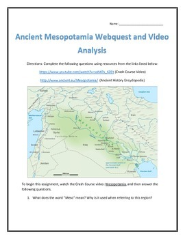 Ancient Mesopotamia- Webquest and Video Analysis with Key