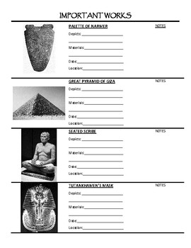 Ancient Mesopotamian and Egyptian Art Student Handout - Art History