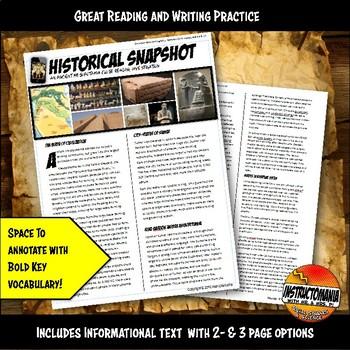 Ancient Mesopotamia Historical Snapshot Close Reading Investigation