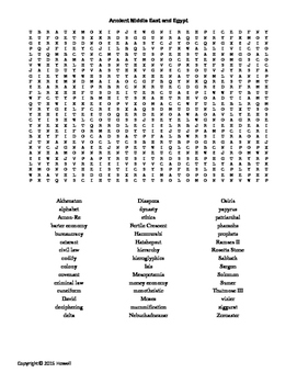 Ancient Middle East and Egypt Word Search for World History