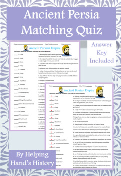 Ancient Persian Empire Activity Matching with Answer Key