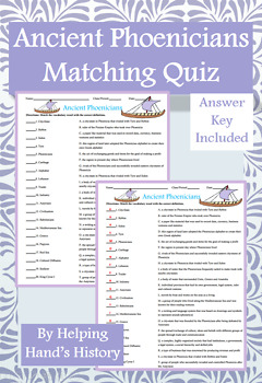 Ancient Phoenicians Activity Matching with Answer Key