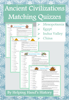 Ancient River Valley Civilizations Activity Matching with Answer Key