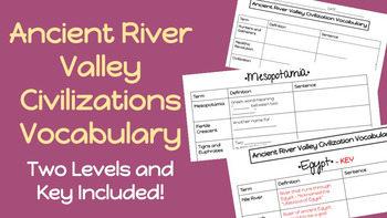 Ancient River Valley Civilizations - Vocabulary (Modified version included!)