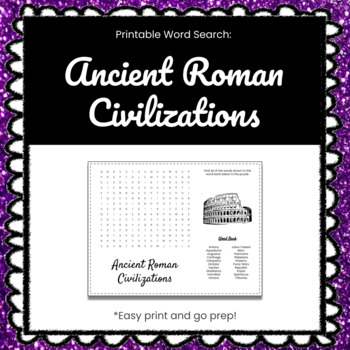 Ancient Roman Civilizations Printable Word Search Puzzle