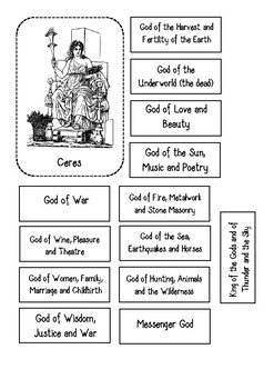 Ancient Roman Gods Cut and Paste Activity (flashcards and worksheet)