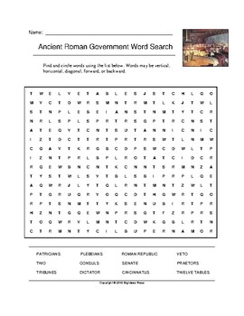 Ancient Roman Government Word Search (Grade 6)