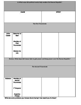 Ancient Roman Reformers Students Graphic Organizer