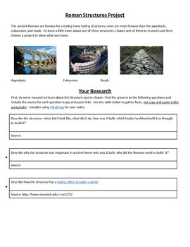 Ancient Roman Structures Tiered and Differentiated Research Project