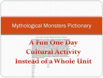 Ancient Roman and Greek Mythology Monsters Pictionary