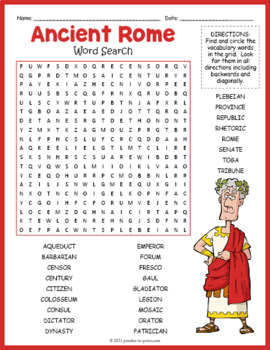 ancient rome word search puzzle by puzzles to print tpt. Black Bedroom Furniture Sets. Home Design Ideas