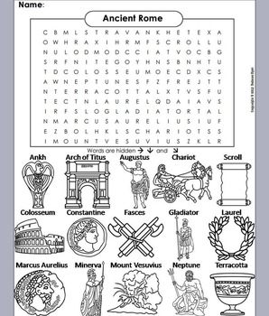 Ancient Rome Word Search/ Coloring Book