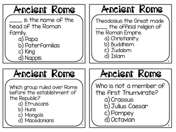 Ancient Rome Task Cards: What do you know about Ancient Rome?