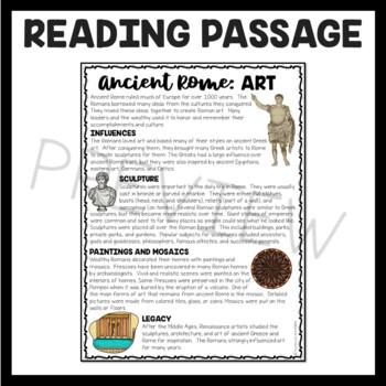 Ancient Rome: Art  Reading Comprehension Worksheet; Roman Empire
