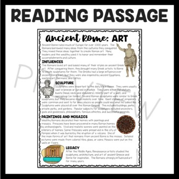 Ancient Rome: Art  Reading Comprehension Worksheet; Roman Empire
