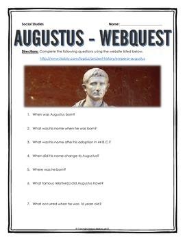 Ancient Rome - Augustus - Webquest with Key
