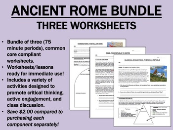 Ancient Rome Worksheet Bundle - Global/World History Common Core