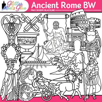 Ancient Rome Clip Art {Civilization and Culture on the Tiber River} B&W