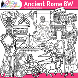 Ancient Rome Clip Art   Civilization and Culture on the Tiber River   B&W