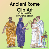 Ancient Rome Clip Art in Realistic vintage Style Color and BW