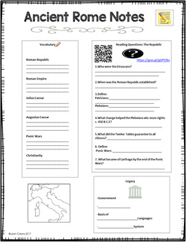 Ancient Rome Lesson Plans, Cloze Notes, PowerPoint, and Exit Tickets