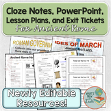 Ancient Rome Lesson Plans, Cloze Notes, PowerPoint, and Ex