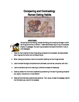 Ancient Rome-Comparing and Contrasting: Roman Eating Habits- worksheet