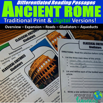 Ancient Rome Differentiated Reading Passages