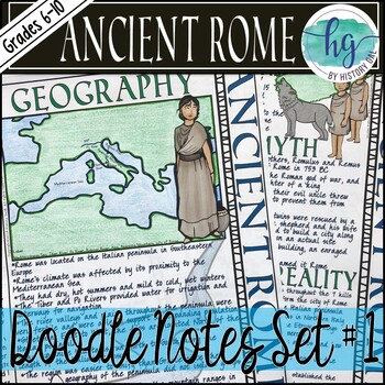 ancient rome doodle notes set 1 for geography and founding of rome