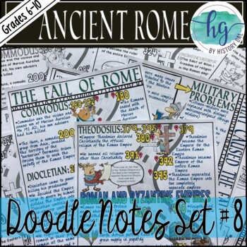 Ancient Rome Doodle Notes Set 8 for the Fall of Rome