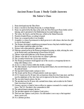 Ancient Rome Exam Study Guide Answers