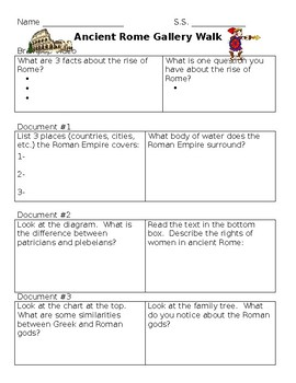 Ancient Rome Gallery Walk Graphic Organizer