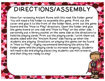 Ancient Rome Game (File Folder Board Game)