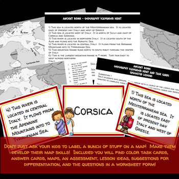 Ancient Rome: Geography Scavenger Hunt  and Task Cards - Differentiated