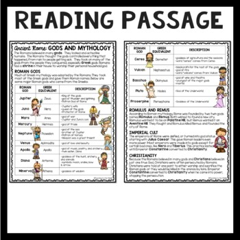 Ancient Rome: Gods and Mythology Reading Comprehension Worksheet; Roman Empire