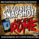 Ancient Rome Historical Snapshot Close Reading Investigation