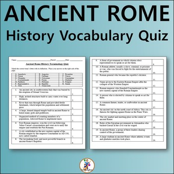Ancient Rome History Vocabulary Quiz and Word List