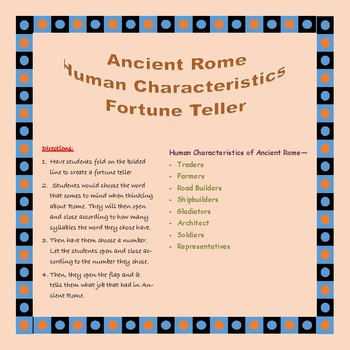 Ancient Rome Human Characteristics Fortune Teller