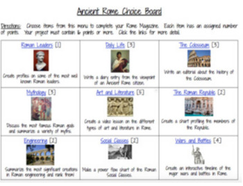 Ancient Rome Hyperdoc and Choice Board Two Pack