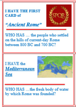 """Ancient Rome """"I Have, Who Has?"""" Game"""