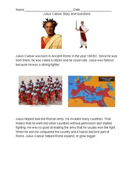 Ancient Rome: Julius Caesar Story and Questions