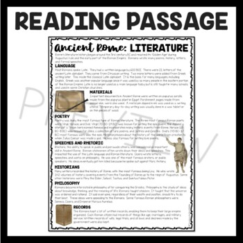 Ancient Rome: Literature Reading Comprehension Worksheet; Roman Empire