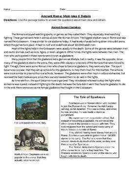 Ancient Rome: Main Idea & Details