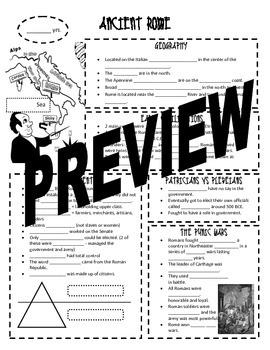 Ancient Rome Notes Sheet